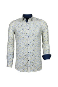 Italiaanse Overhemden - Slim Fit Overhemd - Blouse Drawn Flower Pattern