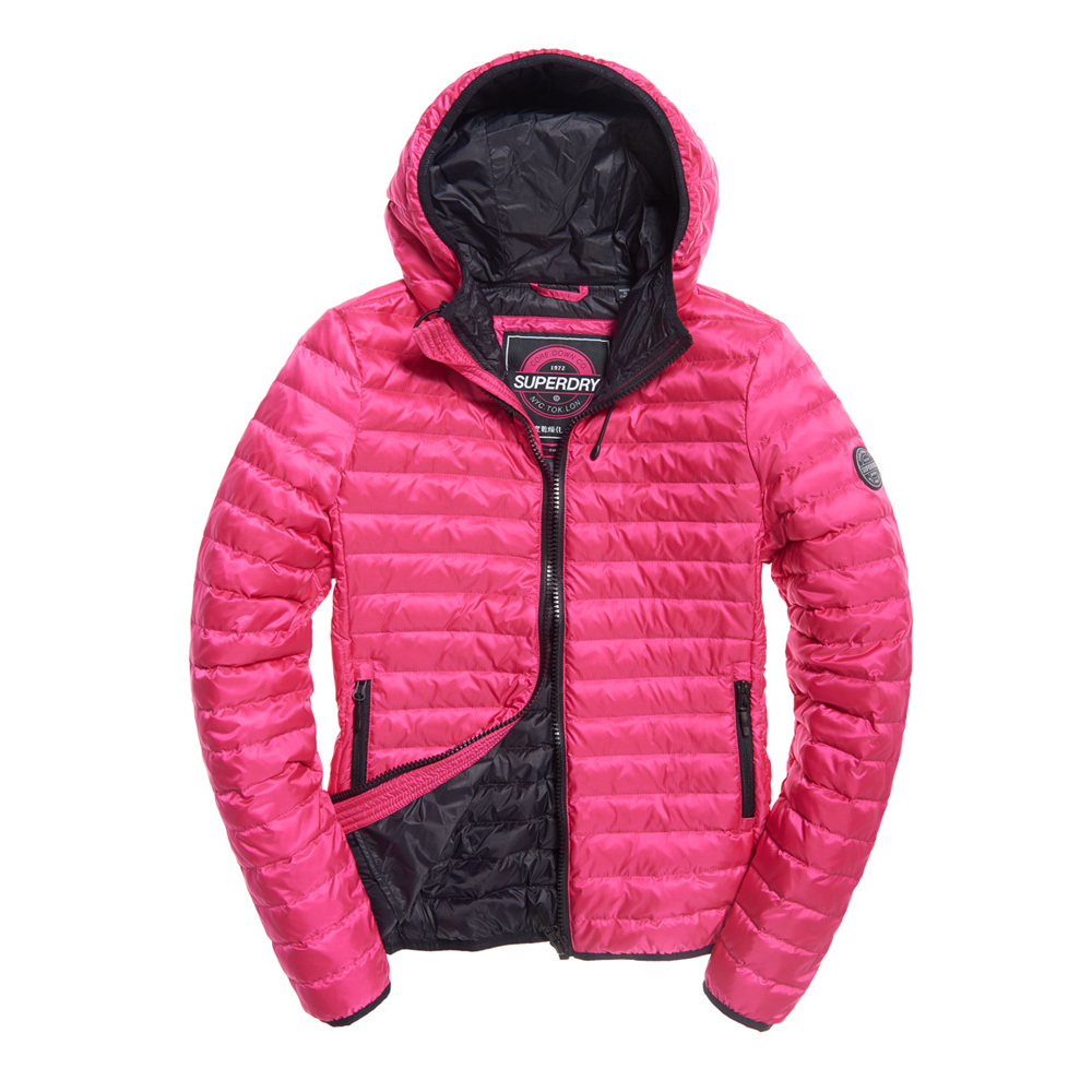 Superdry Core Down Jacket Med Hood Pacific Pink