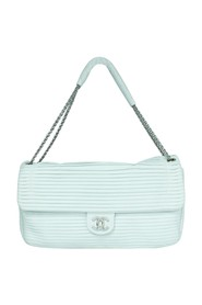 White Leather Pleated Shoulder Bag -Pre Owned Condition Very Good