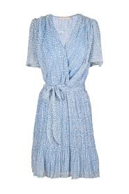 Wrap dress with flounce