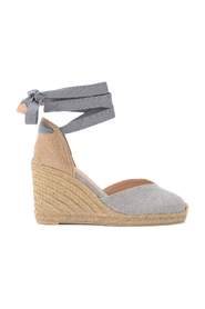 Castañer Chiara wedge sandal in gray canvas and fabric