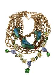 Parrot Crystal Floral Charm Statement Necklace