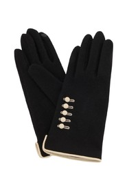 Wool Touch Gloves Buttons Black