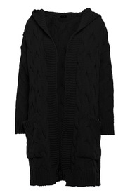 Pleated knit hooded cardigan