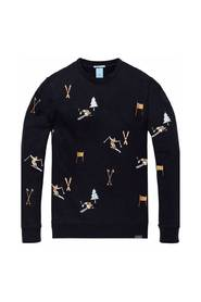 145462 Crewneck sweat with all-over ski embroideries