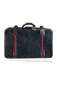 Suede Large Suitcase Travel Bag Stripes