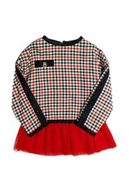 CHECKED SWEATSHIRT WITH POCKET AND TULLE BAND