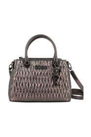 Pewter laminated and quilted Brinkley handbag