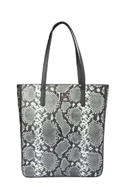 Snake print faux leather tote bag