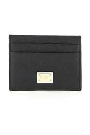 leather card holder with logo plaque