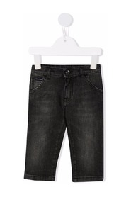 Gray wash regular-fit stretch jeans