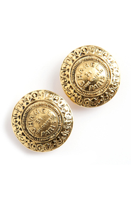 Paris button clip on earrings