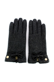 Leather gloves with bow