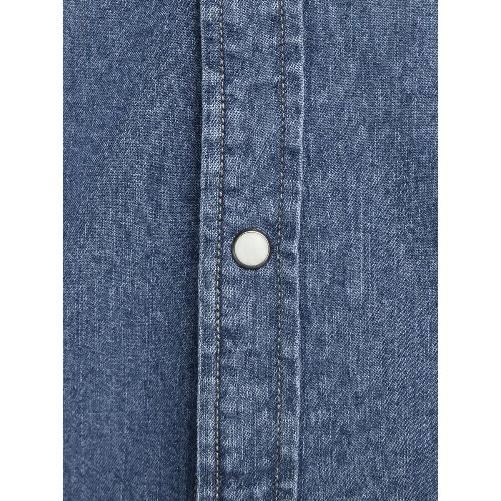 Medium Blue Denim Overhemd met korte mouwen Basic   Jack  Jones   Korte mouwen Overhemden   Herenkleding