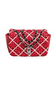 Pre-owned Patent Leather Woven Fabric Diamond Stitch CC Flap Shoulder Bag