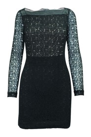 Lace Dress with Leather Trim