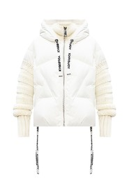 Down jacket with knit sleeves