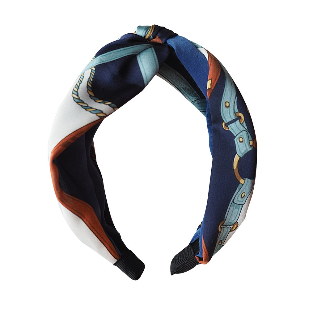 BLUE Silk Scarf Headband