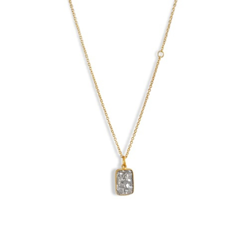 BAUMGARTEN DI MARCO RAW CUT DIAMOND PLATE NECKLACE GOLD-PLATED