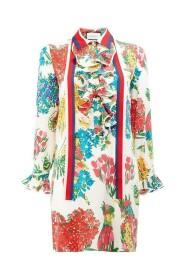 Floral Print Ruffle Trim Shirt Dress