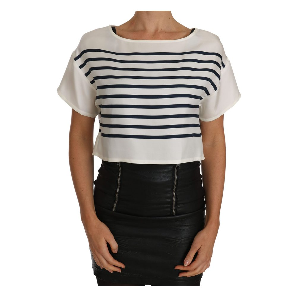 White Striped Printed Blouse Top  Dolce & Gabbana  Bluser