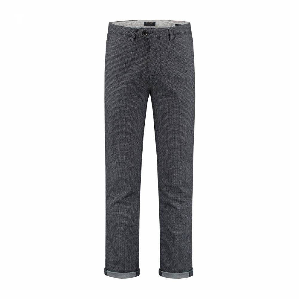 Fancy chino classic piede poule navy pantalon Blauw