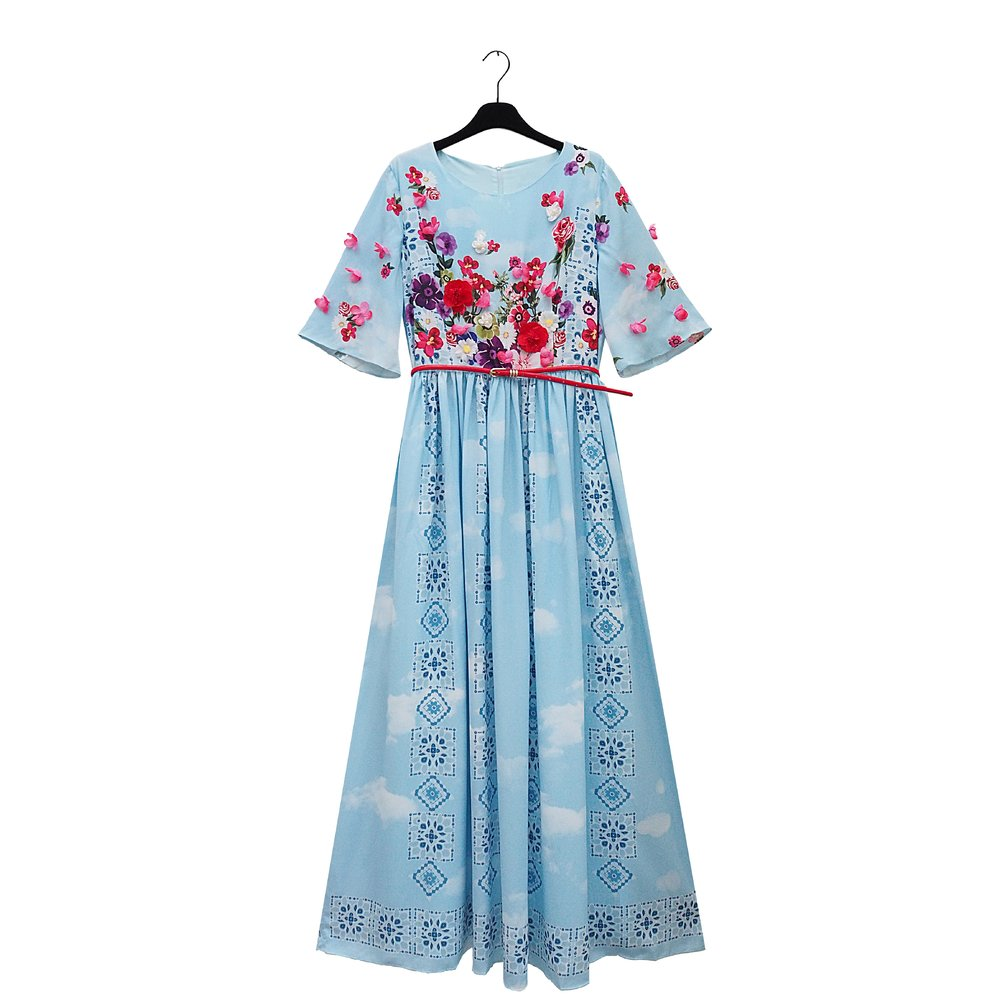 GAMILLA Long Light Blue Flower Print Dress