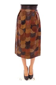 Patchwork Leather Straight Skirt