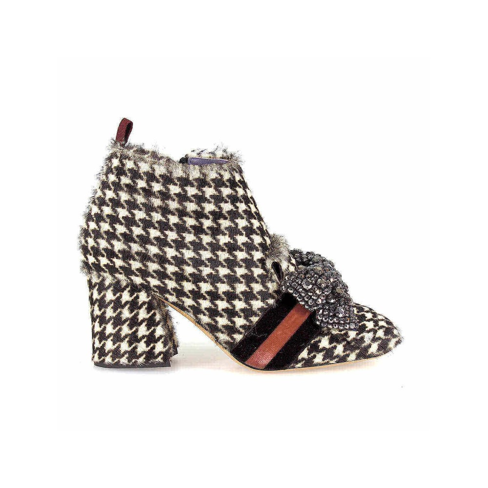 HOUNDSTOOTH AND BOW ANKLE BOOT