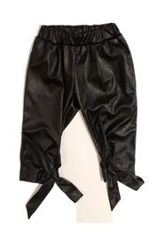 FAUX LEATHER TROUSERS WITH RIBBONS AT THE ANKLES