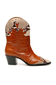 Crocodile and python print cowboy boots