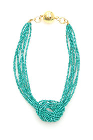 Knot turquoise necklace with magnetic clasp