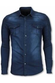 Biker Denim Shirt - Slim Fit Ribbed Schoulder