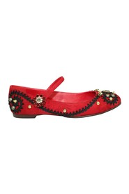 Jacquard Ballerinas with Lace and Embellishments