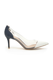 Denim and patent plexi 70 pumps