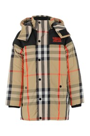 Down jacket with vintage check pattern Removable hood