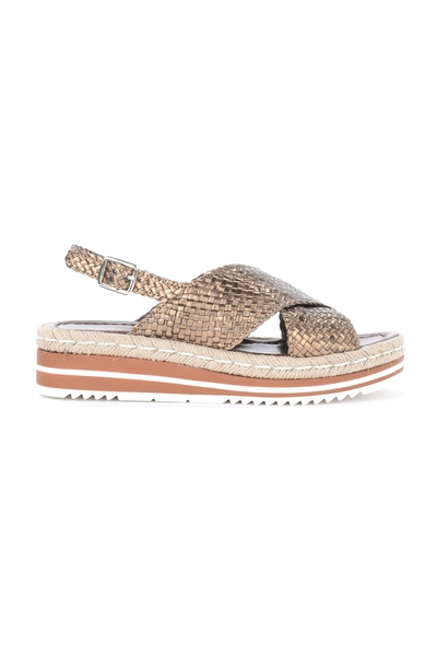Pons Quintana Brown Sandal in woven and laminated leather Sandaler - Brun