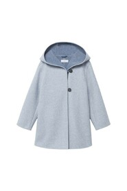 Hooded button coat