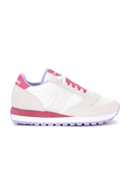 Jazz sneaker in suede and white and fuchsia fabric