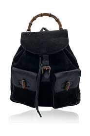 Pre-owned  Leather and Suede Bamboo Backpack Bag