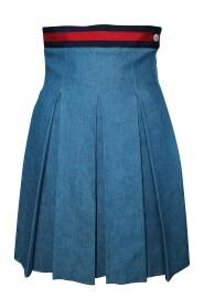 Pre-owned Pleated Denim Skirt
