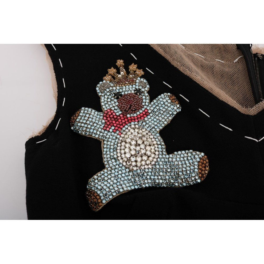 Dolce & Gabbana Brown Crystal Bear Key Clock Wool Dresss Dolce & Gabbana