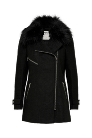 Carol Wool Fur Biker Coat