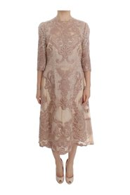 Silk Lace Ricamo Shift Gown Dress