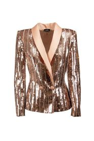 Sequined embroidered jacket with satin lapels