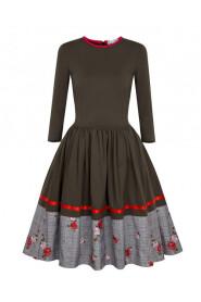 Sukienka Rozkloszowana Khaki