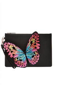 Flossy leather clutch