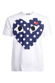 PLAY white t-shirt with blue polka dot heart