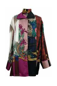 Multicolor Silk Printed Pajama Shirt Size 42 IT