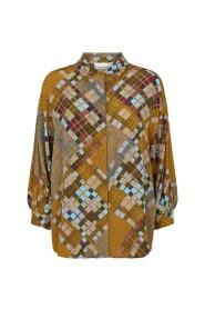 Mønster Second Female Malte Ss Shirt Skjorte